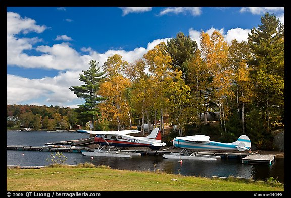 Floatplanes and fall foliage on Moosehead Lake, Greenville. Maine, USA