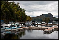 Marina along Moose River, Rockwood. Maine, USA (color)