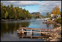 Moose River and Mount Kineo in autumn, Rockwood. Maine, USA