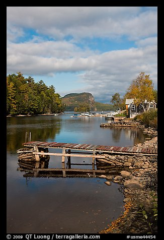 Deck, Moose River, Rockwood. Maine, USA