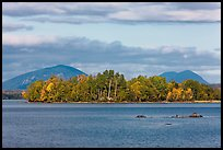 Deer Island on Moosehead Lake, afternoon. Maine, USA