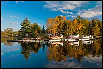 Seaplanes and autumn foliage, West Cove, late afternoon, Greenville. Maine, USA (color)
