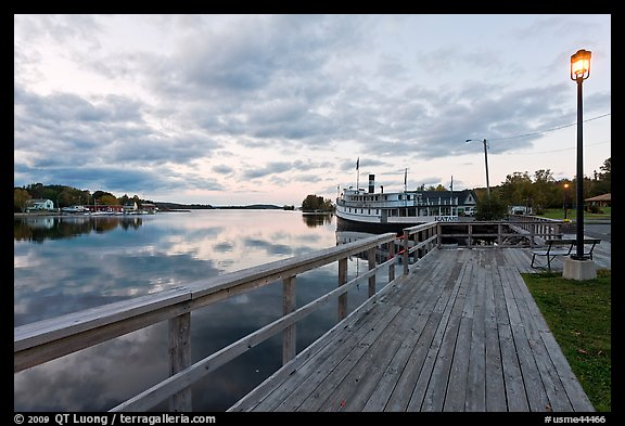 Marina with Katahdin steamer at sunset, Greenville. Maine, USA (color)