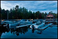 Boats in Beaver Cove Marina at dusk, Greenville. Maine, USA ( color)