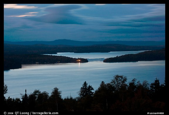 Moosehead Lake at dusk, Greenville. Maine, USA (color)
