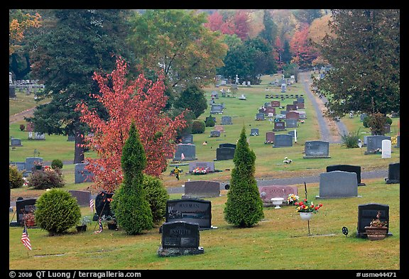 Grassy cemetery in the fall, Greenville. Maine, USA (color)