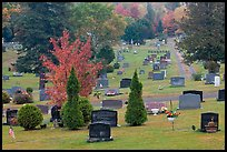 Grassy cemetery in the fall, Greenville. Maine, USA