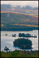Islets and mountain slopes with fall foliage. Maine, USA