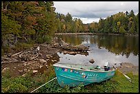Cove and boat on shore of  Moosehead lake, Lily Bay State Park. Maine, USA ( color)