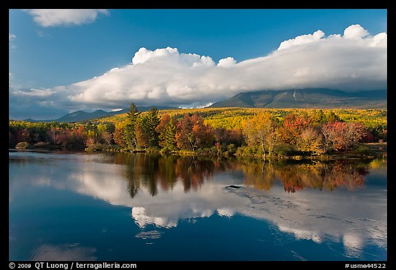 Mountain range and trees reflected in Penobscot River. Baxter State Park, Maine, USA