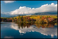 Mountain range and trees reflected in Penobscot River. Baxter State Park, Maine, USA ( color)