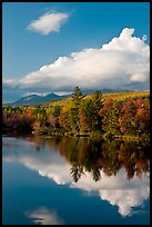 Cloud-capped Katahdin range and water reflections in autumn. Baxter State Park, Maine, USA (color)