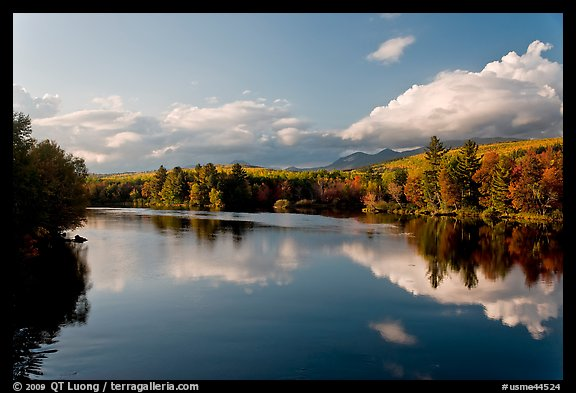 Calm Penobscot River reflects Katahdin range in the fall. Maine, USA (color)