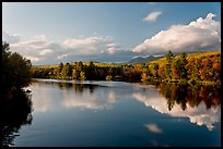 Calm Penobscot River reflects Katahdin range in the fall. Maine, USA ( color)