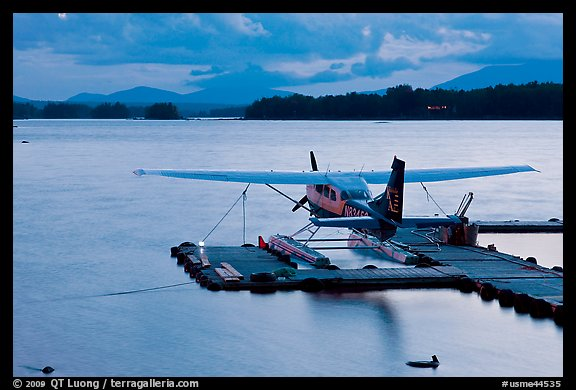 Floatplane at dusk, Ambajejus Lake. Maine, USA