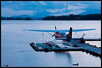 Floatplane at dusk, Ambajejus Lake. Maine, USA (color)