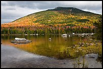 South Turner Mountain reflected in Sandy Stream Pond in autumn. Baxter State Park, Maine, USA
