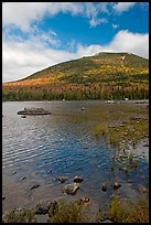 Forested mountain with fall foliage and pond. Baxter State Park, Maine, USA ( color)