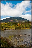 Clouds, mountain, and pond in autumn. Baxter State Park, Maine, USA