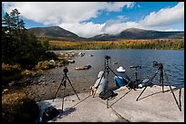Photographers at Sandy Stream Pond waiting with cameras set up. Baxter State Park, Maine, USA ( color)