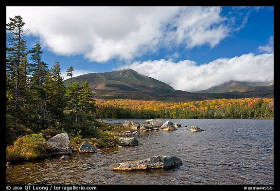 Cloud-capped Katahdin range and forest from Sandy Stream Pond. Baxter State Park, Maine, USA (color)