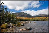 Cloud-capped Katahdin range and forest from Sandy Stream Pond. Baxter State Park, Maine, USA