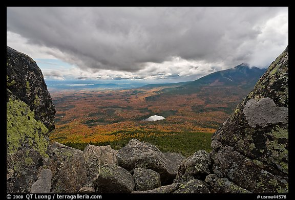 Mountain scenery in fall seen between boulders. Baxter State Park, Maine, USA (color)