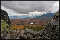 Mountain scenery in fall seen between boulders. Baxter State Park, Maine, USA ( color)