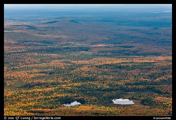 Ponds and forested landscape in autumn with spots of light. Baxter State Park, Maine, USA (color)
