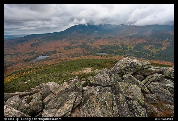 Katahdin and forests seen from South Turner Mountain. Baxter State Park, Maine, USA (color)