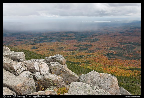 Moving rain front seen from South Turner Mountain. Baxter State Park, Maine, USA (color)