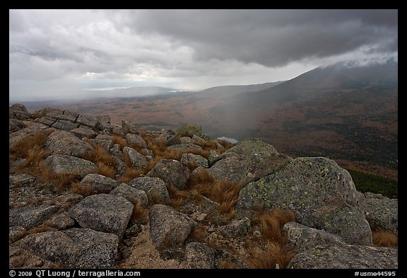 Landscape with rain from South Turner Mountain. Baxter State Park, Maine, USA (color)