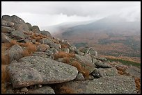Boulders and rain showers, from South Turner Mountain. Baxter State Park, Maine, USA (color)