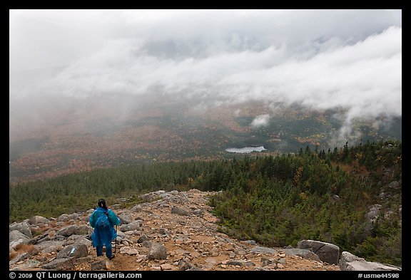 Hiker descending South Turner Mountain under the rain. Baxter State Park, Maine, USA (color)
