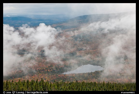 Rainy landscape with clouds floating. Baxter State Park, Maine, USA (color)