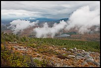 Autumn landscape with clouds hovering below mountains. Baxter State Park, Maine, USA ( color)