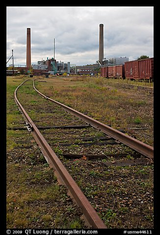 Railroad tracks and smokestacks, Millinocket. Maine, USA