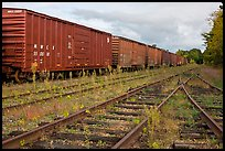 Railroad tracks and cars, Millinocket. Maine, USA (color)