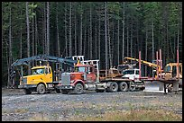 Forestry vehicles in a clearing. Maine, USA (color)