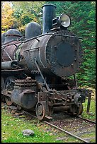 Nose of rusting steam locomotive. Allagash Wilderness Waterway, Maine, USA