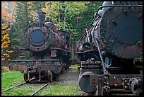 Eagle Lake and West Branch railroad locomotives. Allagash Wilderness Waterway, Maine, USA