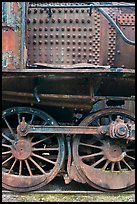 Close-up of rusting locomotive. Allagash Wilderness Waterway, Maine, USA