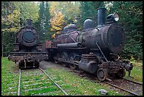 Vintage steam locomotives. Allagash Wilderness Waterway, Maine, USA