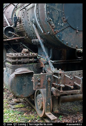 Detail of old steam locomotive. Allagash Wilderness Waterway, Maine, USA (color)