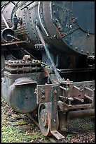 Detail of old steam locomotive. Allagash Wilderness Waterway, Maine, USA