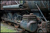 Close-up of vintage Lacroix locomotive. Allagash Wilderness Waterway, Maine, USA