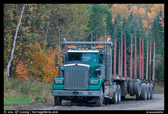 Empty log-carrying truck. Maine, USA (color)
