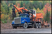 Forestry truck at logging site. Maine, USA