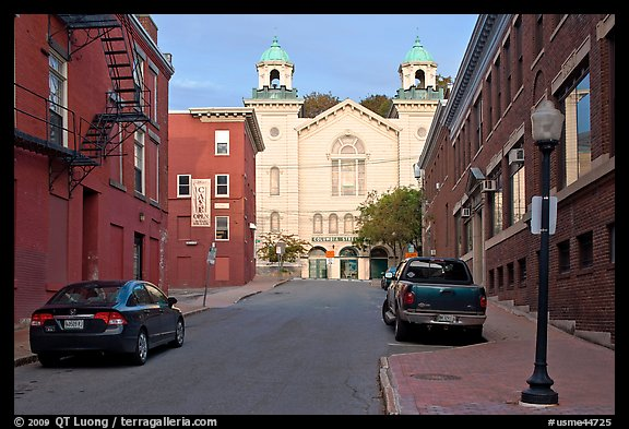 Brick buildings and church on Columbia Street. Bangor, Maine, USA (color)