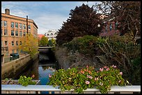 Bridge with flowers over the Kenduskeag stream. Bangor, Maine, USA (color)
